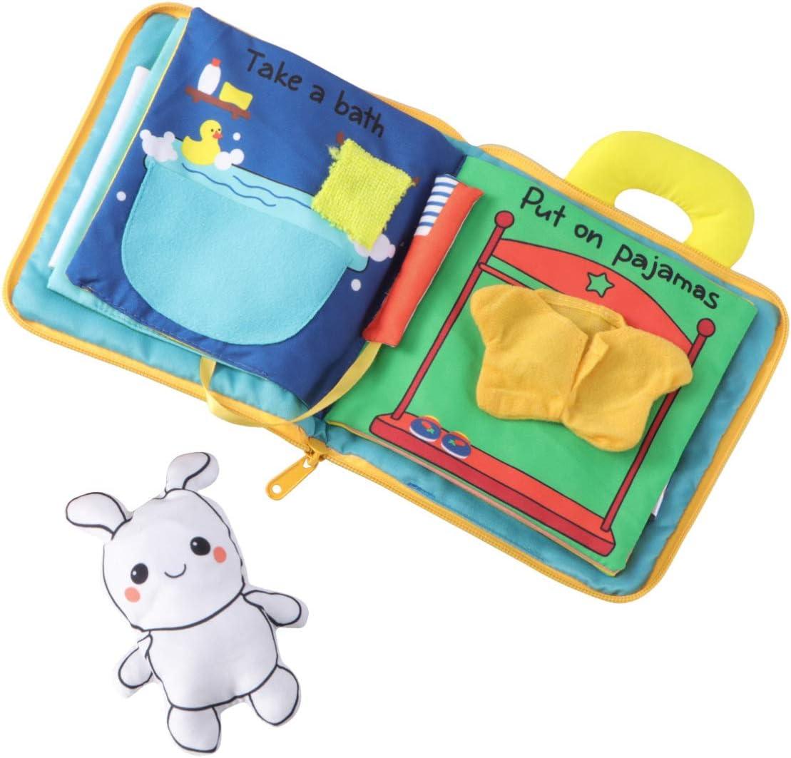 STOBOK Libro de Tela para Beb/és 3D Actividad de Mordedor Libros de Arrugas Juguetes Educativos Tempranos para Ni/ños Peque/ños Ni/ños Ni/ñas Regalo de Baby Shower
