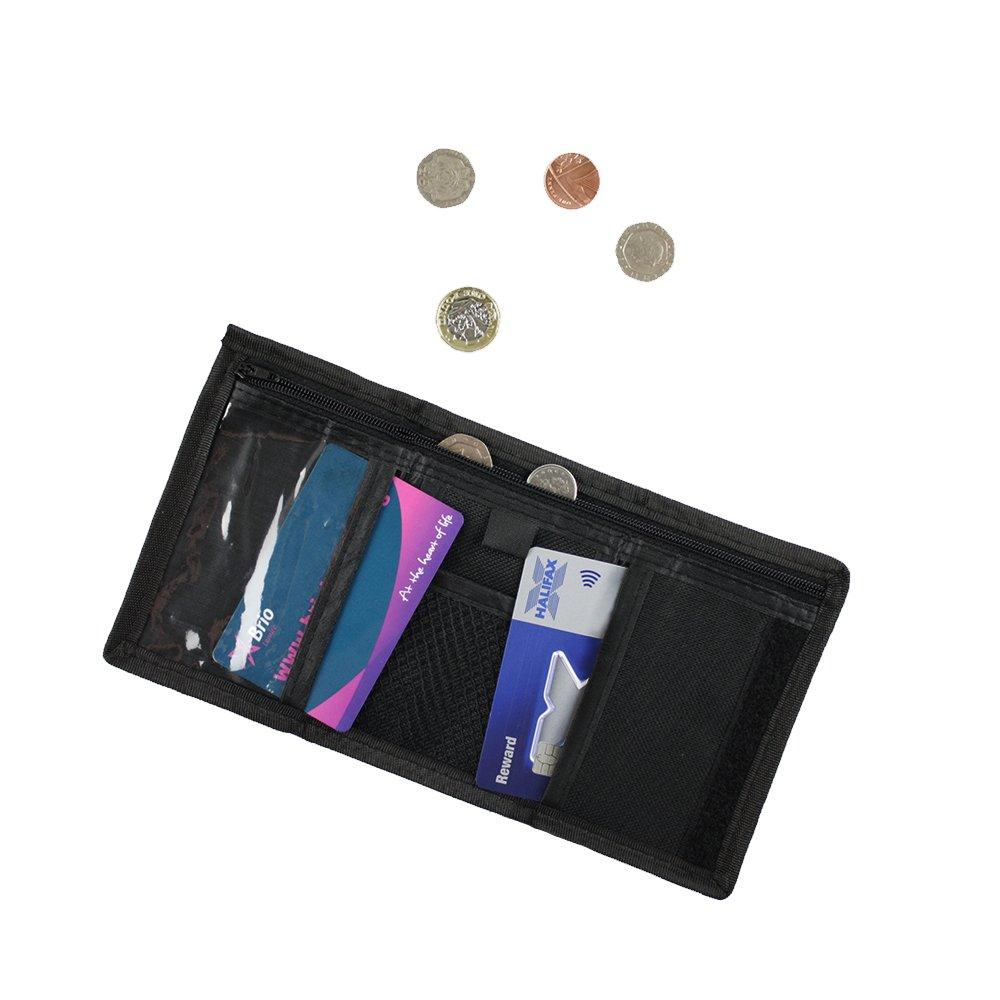 eBuyGB Tri-Fold Travel Wallet Zipped Pocket ID Card Holder Black