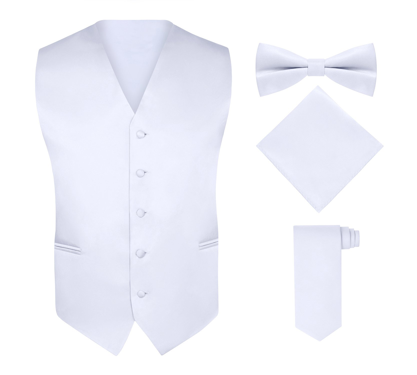S.H. Churchill & Co. Men's 4 Piece Vest Set, With Bow Tie, Neck Tie & Pocket Hankie - White, M