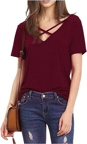 Herren Denim Kurzarm T-Shirt Mit V-Ausschnitt  Schnür Bluse Top T-Shirt