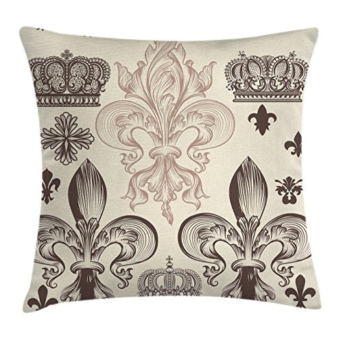 Lunarable Fleur De Lis Throw Pillow Cushion Cover, Heraldic Pattern with Fleur-de-Lis and Crowns Tiara Coat of Arms Knight, Decorative Square Accent Pillow Case, 20