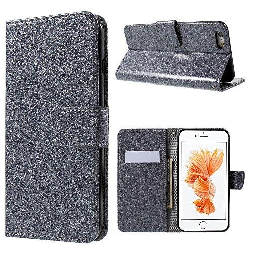 Flashing Powder Mobile Phone Wallet Tasche Hüllen Schutzhülle - Case für iPhone 6s 6 (PU Leather + TPU) - Grey