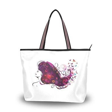 5803a46d8b99 Amazon.com: Terrible Black Butterfly Women Lightweight Tote Bag ...