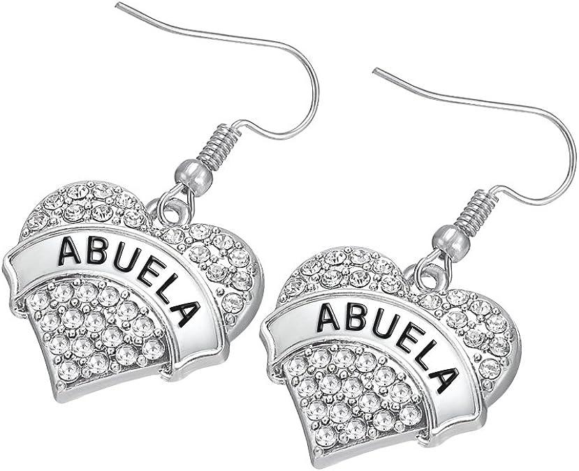 Lemegeton Fashion Crystal Heart BLESSED Drop Earrings for Women Girls Festival Gift Jewelry