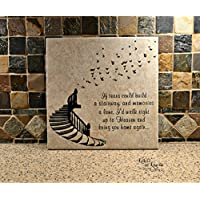 QMSING in Loving Memory Gift, If tears Could Build a Stairway, in Loving Memory Sign, Memorial Gift, Personalized Loving Memory Sign 7.28 x 7.28 inch