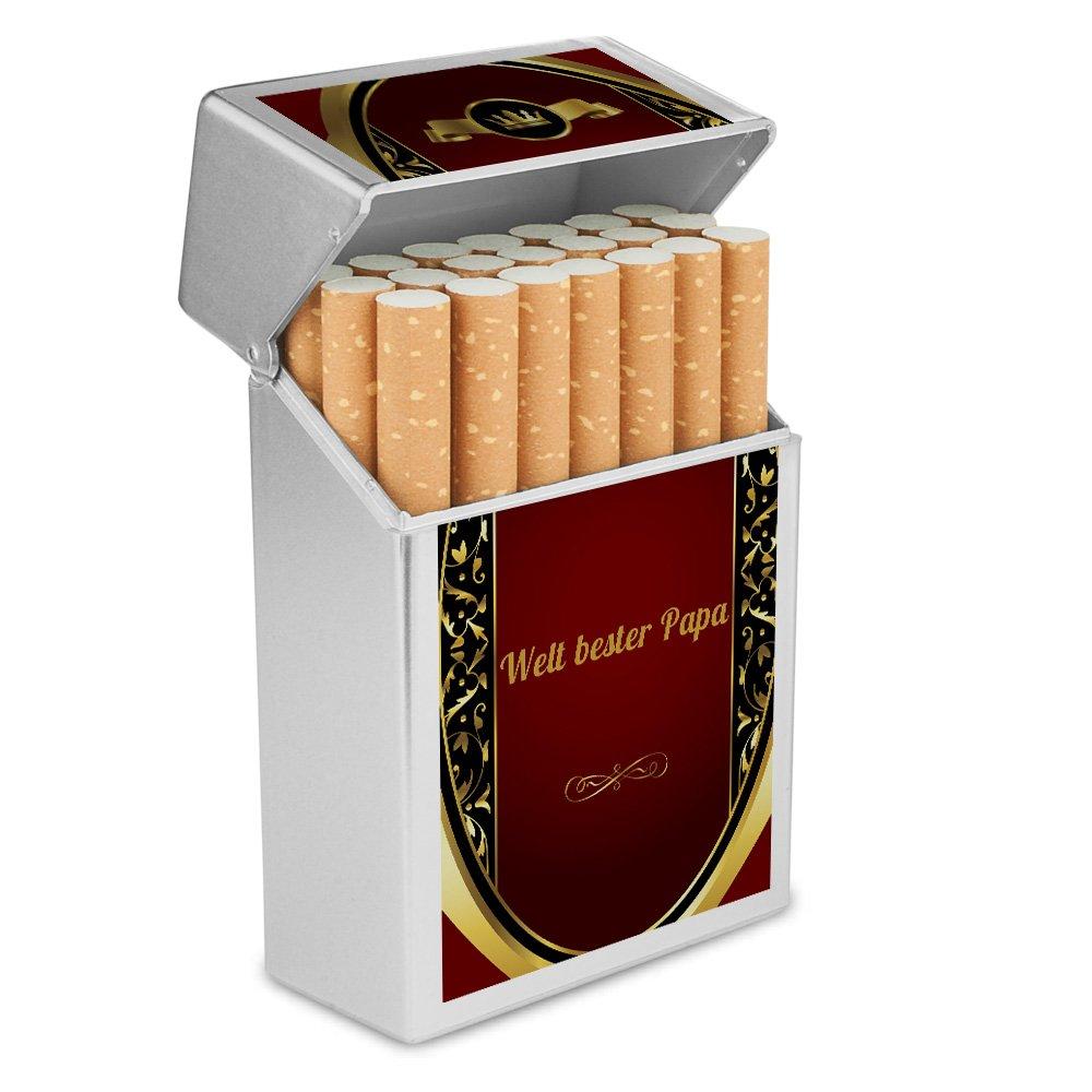 Zigarettenschachtel Kunststoffbox Zigarettenetui Zigarettenbox mit Namen Welt bester Papa Personalisierte H/ülle mit Design Wappen
