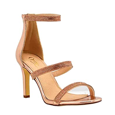 5bf09fd87da8 OJ Women s 3 Straps Strappy Heels Rhinestone Ankle Strap with Back Zipper  for Wedding