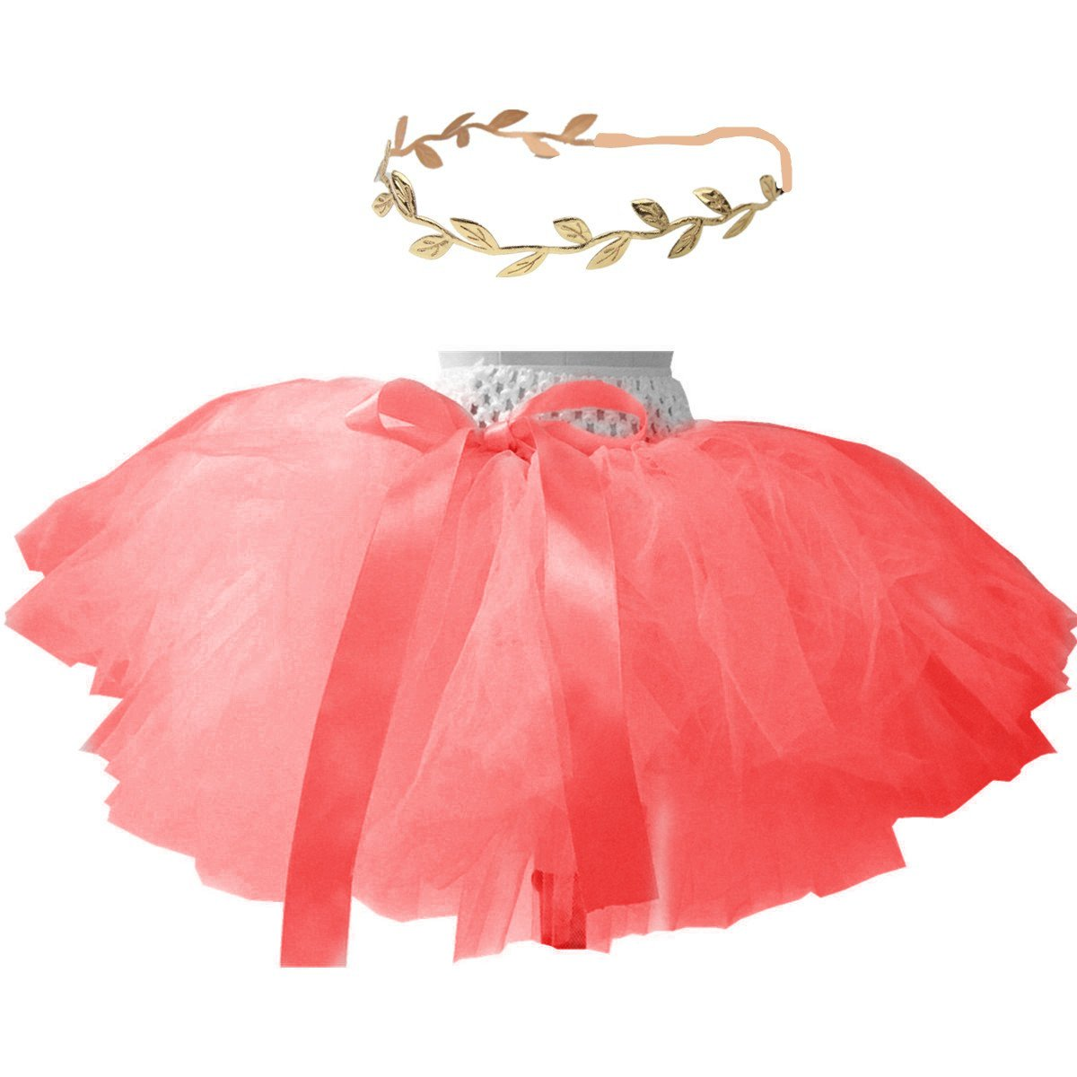 BBVESTIDO Baby Girls Tutu Skirts and Gold Headband Set for 1st Birthday Outfit