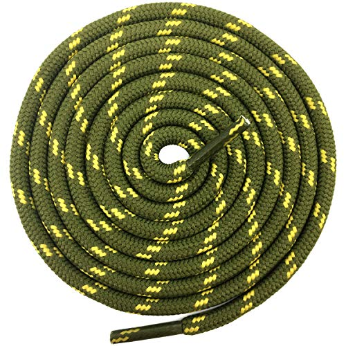 - DELELE 2 Pair Non-slip Outdoor Mountaineering Hiking Walking Shoelaces Round Army Green Yellow String Rope Boot Laces Strong Durable Bootlaces-47.24