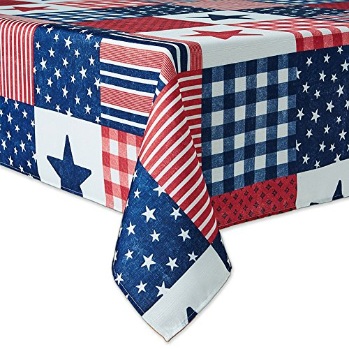 Marine Blue Pool Tablecloth (Patriotic Patchwork Red White Blue Stars and Stripes Print Fabric Tablecloth (60 x 84)