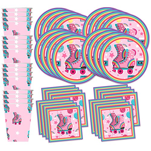 Roller Skating Birthday Party Supplies Set Plates Napkins Cups Tableware Kit for 16 for $<!--$19.99-->