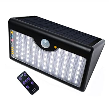 60 led solar powered lights outdoor motion sensor security wireless