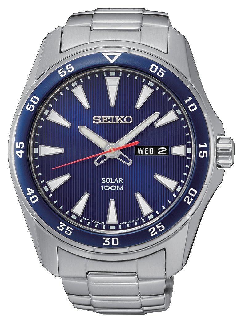 Seiko Reloj Analógico para Hombre de Energía Solar con Correa en Acero Inoxidable SNE391P1