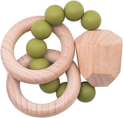 Natural Silicone Beads DIY Baby Wooden Teether Ring Chewable Jewelry Making Set