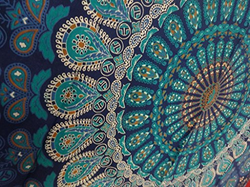 (Tapestry Wall Hanging, Mandala Tapestries, Indian Cotton Bedspread, Blue Color Theme, Picnic Blanket, Wall Art, Hippie Tapestry, 140 x 220 Cms)