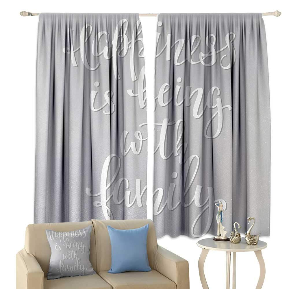 HoBeauty Family, Thermal Insulating Blackout Curtain, Positive Family Themed Message Happiness Hand Writing Calligraphy Inspiration, Blackout Draperies for Bedroom,(W72 x L63 Inch, Light Grey White