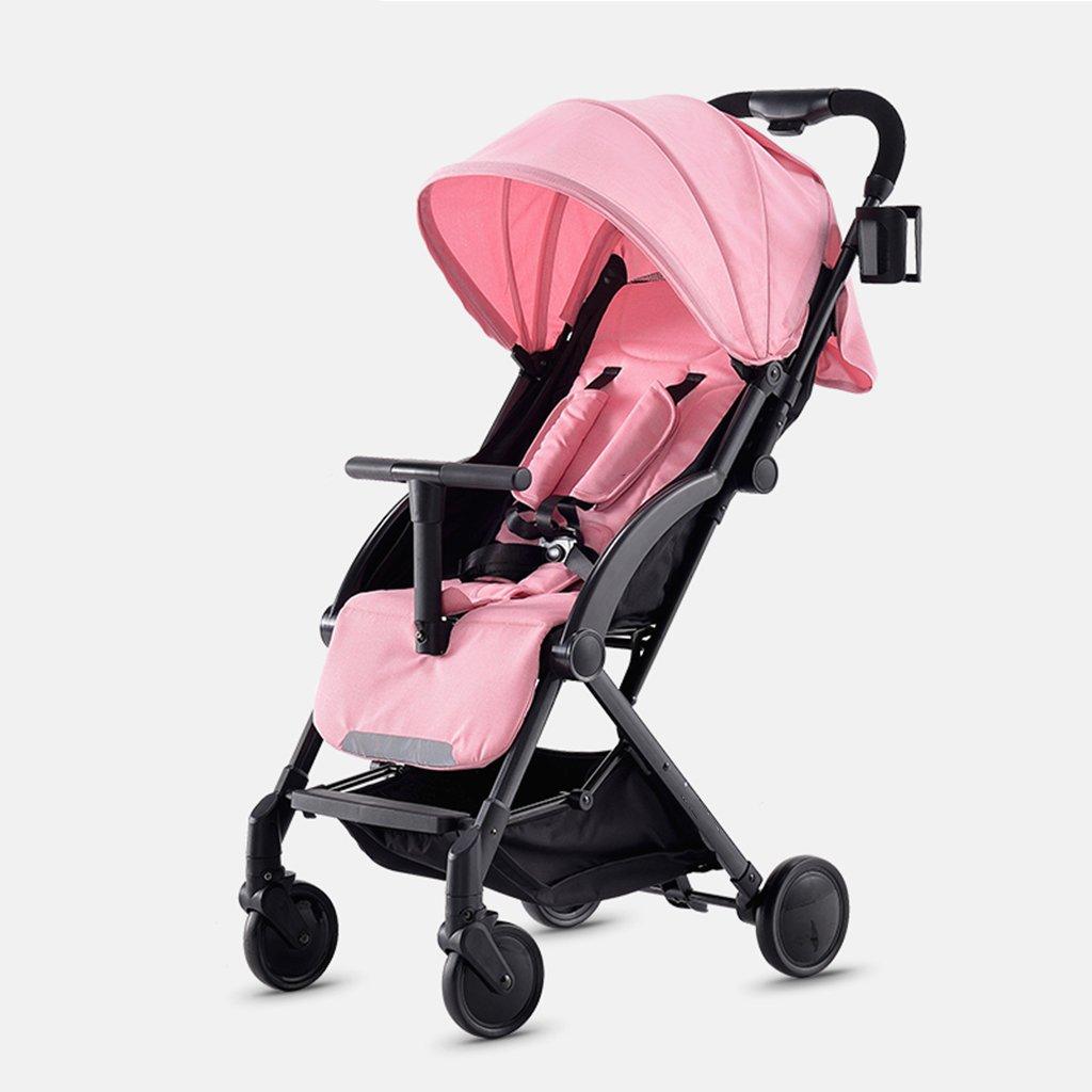 JIANXIN ベビーベビーカーは軽量で持ち運びできるパラソルで、ベビーカーから折り畳むことができます。 (色 : Pink)   B07F7T4V4X