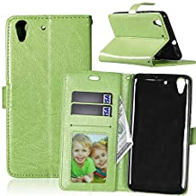 Huawei Y6 II Case,YiLin [Stand Feature] Flip Premium PU Leather Stand [Wallet Case] With Built-in ID Credit Card / Cash Slots Cover for Huawei Y6 II / Honor 5A [Green]