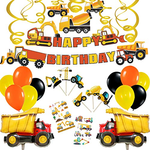 Construction Party Supplies Happy Birthday Party Decorations (Construction Theme with Dump Truck Balloon)]()