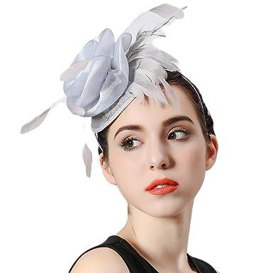 Koola s Hats Ladies Hand-made Silver Feather Headdress Marriage Hats  Wedding Mini Fascinators Hats 6638e09ec9b