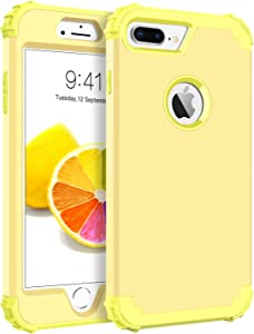 BENTOBEN Case for iPhone 8 Plus/iPhone 7 Plus, 3 in 1 Hybrid Hard PC Soft Rubber Heavy Duty Rugged Bumper Shockproof Anti Slip Full-Body Protective Phone Cover for iPhone 8 Plus/7 Plus, Yellow Lemon