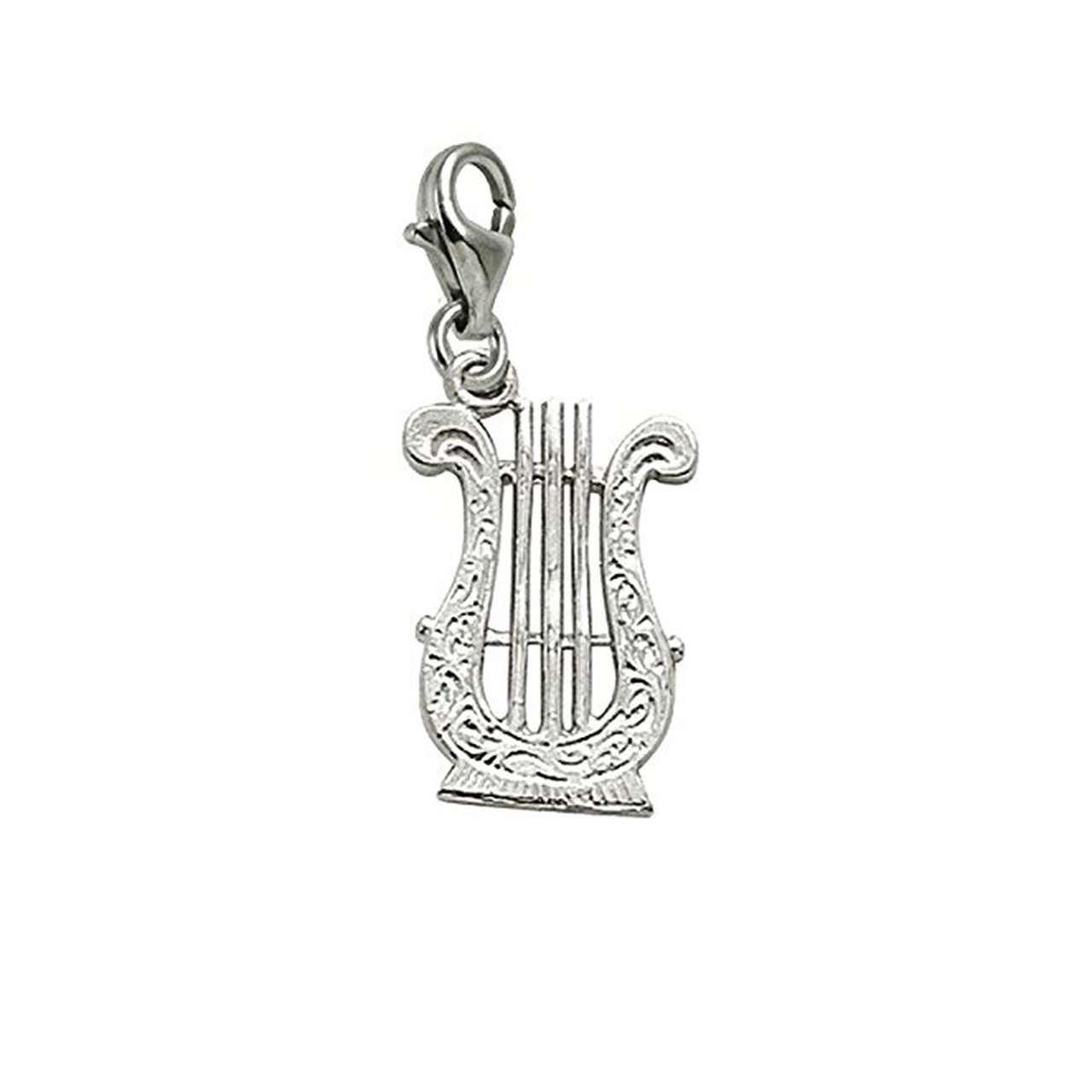 Sterling Silver Lyre Charm With Lobster Claw Clasp, Charms for Bracelets and Necklaces