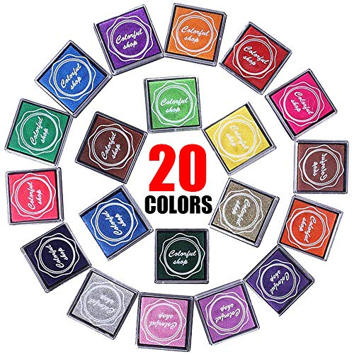 Finger Ink Pads- Non Toxic Water Soluble Multi-Color Ink Stamp Pads Set for Kids Teachers Artist, Long Lasting DIY Craft Ink Pad as Perfect Gift for Children (20 Colors)