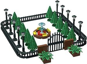 Building Block Education Toy - Street Lamp Street Light & Tree Fences Sets & Entrance Door and Park Fountain - Building Bricks Accessories for Park Scene - Compatile with Major Brands (Park Scene)
