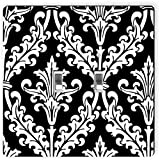 Rikki Knight 1333 Double Toggle Black & White Color Damask Design Light Switch Plate
