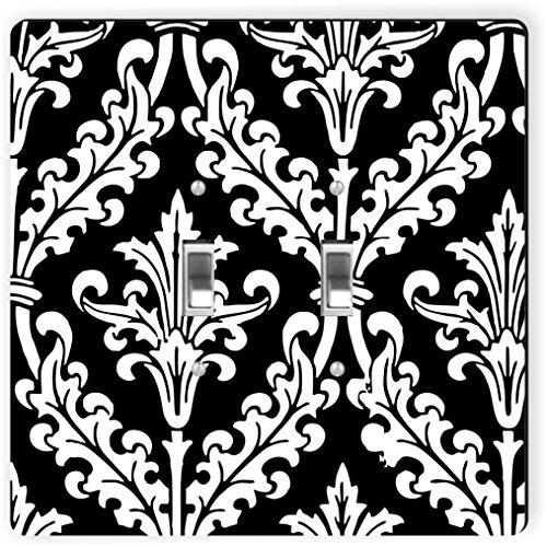 Rikki Knight 1333 Double Toggle Black & White Color Damask Design Light Switch Plate by Rikki Knight