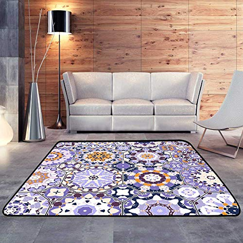 Contemporary Synthetic Rug,Set of Octagonal and Square Patterns W 47
