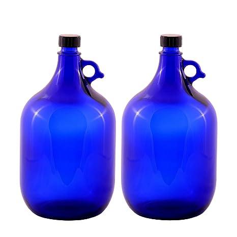 Unbekannt 2 x 5 l Globo de cristal botella en azul galón/flor de la