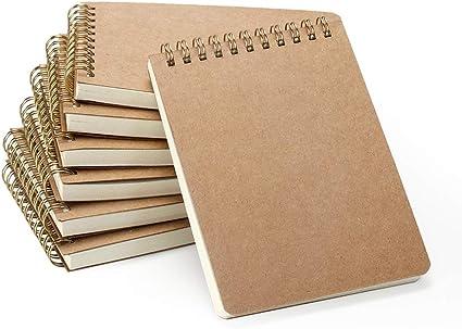 VEESUN Bloc de Notas Espiral A6, Pack de 7 Cuaderno de notas Tapa Blanda Cubierta de Kraft 160 Páginas Diario de Viaje Libreta Hojas Blancas Pequeña Diarios para Escolar Escribir Professor: Amazon.es: