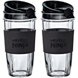 Two Large 650ml Nutri Ninja Cups with Two Sip & Seal Lids