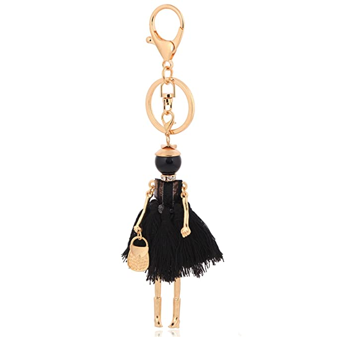 Wholesale Black Tassel Keychain For Women Key Ring Chain Charms