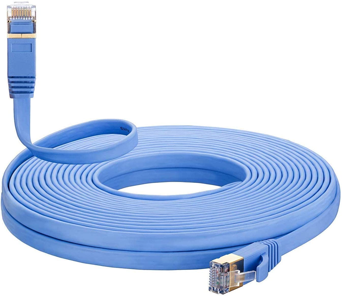 Blue Computers Printers etc Case Safety 1x 50 feet Ethernet Network CAT7 Cable Cord Flat Rj45 High Speed Connector for Routers