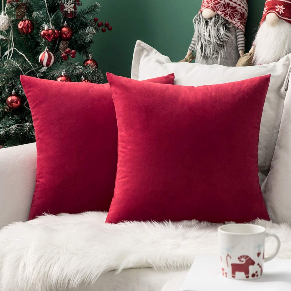 MIULEE Pack of 2 Velvet Pillow Covers Decorative Square Pillowcase Soft Solid Cushion Case for Christmas Decor Sofa Bedroom Car 16 x 16 Inch Red