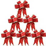 Red Ribbon Bows Set of 6
