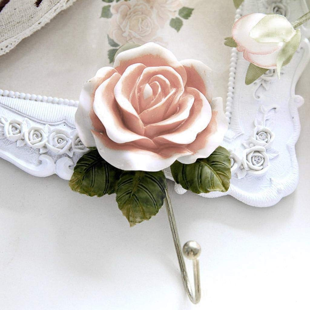 Agordo Wall Mounted Resin Rose Flower Coat Robe Hanging Hook Clothes Hanger Towel