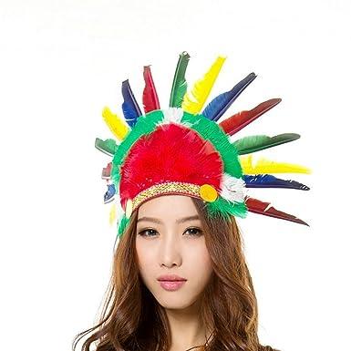 IBLUELOVER Coiffe en Plumes de Chef Indien Américain Coiffures Accessoires  de cheveux Multicolore Bandeau Déguisements pour
