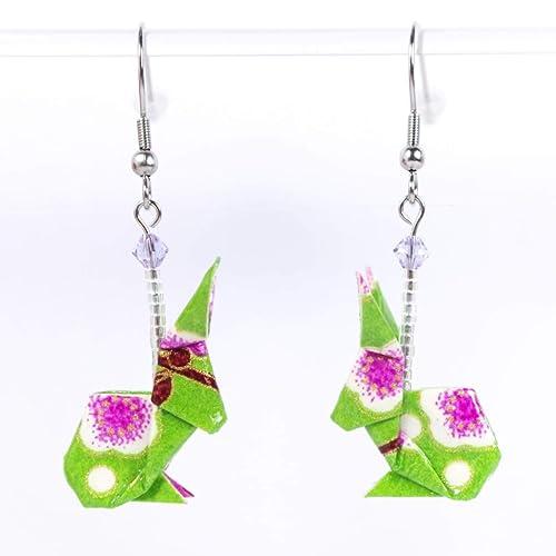 Boucles doreilles lapins origami violets avec des fleurs roses crochets inox