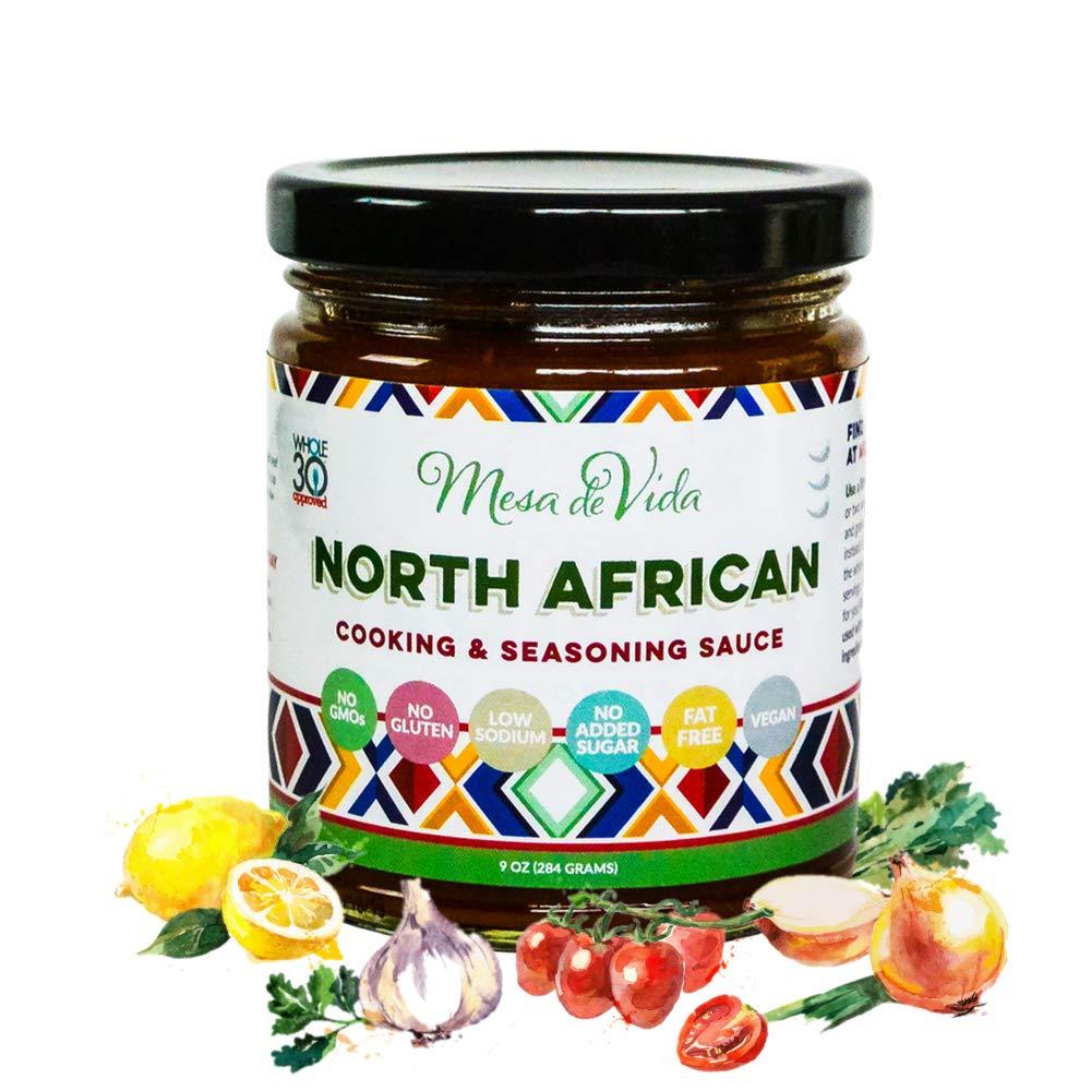 North African Cooking Sauce & Seasoning Sauce | Whole30 Approved Gourmet Recipe Starter Blend - Vegan, Vegetarian, Plant-Based, & Paleo – 9 oz Jar