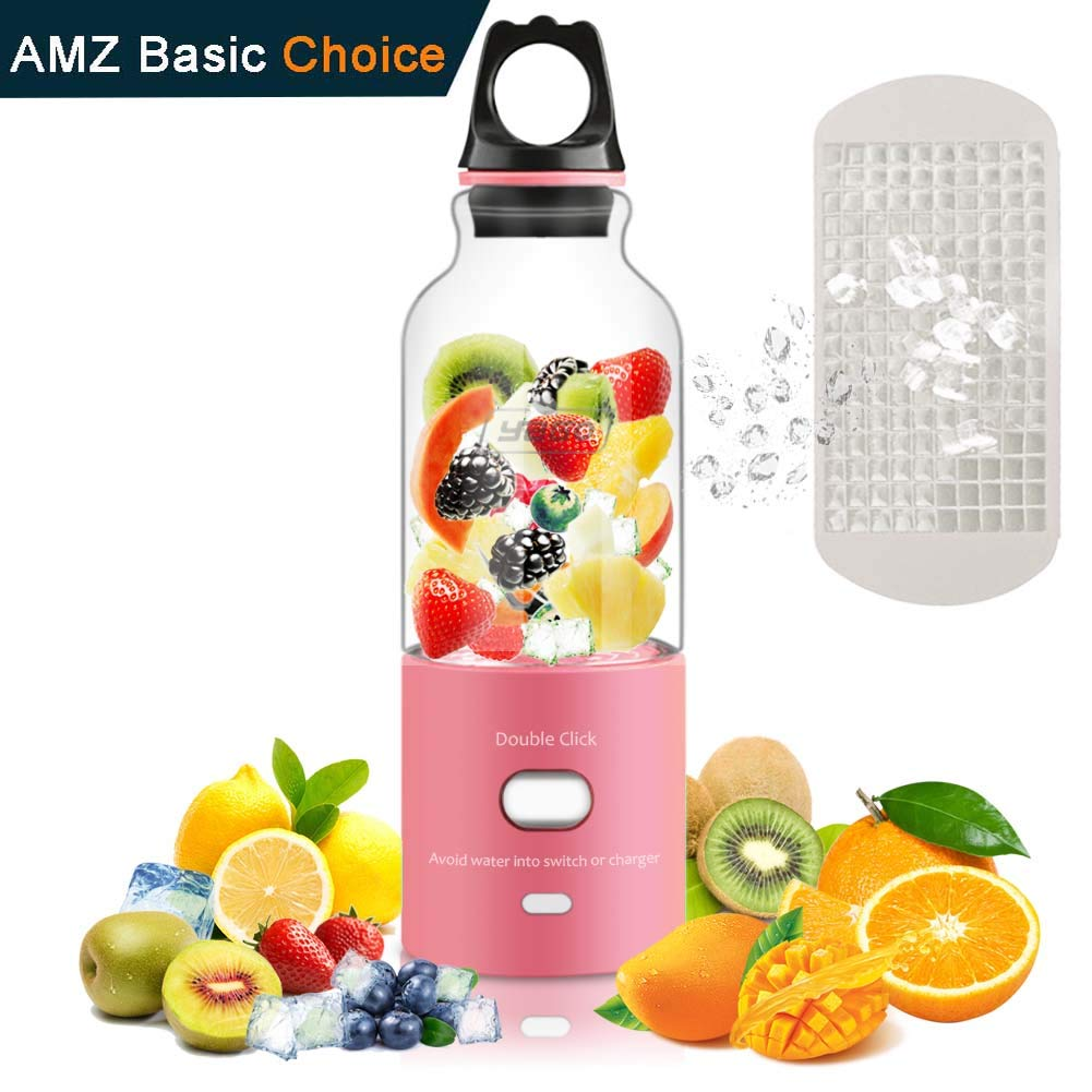 Small Blender, Portable Juicer Cup- USB Recharge Personal Small Juice Fruit Mixer Bottle- Electric Smoothie Mixing Machine with Girls Home Office Outdoor by Yago,Pink Boohome
