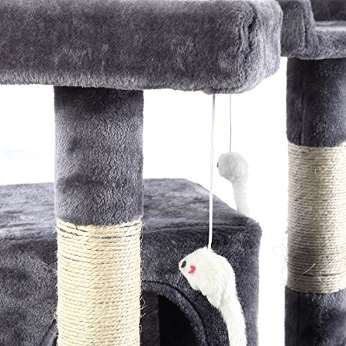 66'' Cat Tree Tower Condo Furniture Scratching Post Pet Kitty Play House (Gray) by Anumochi (Image #2)