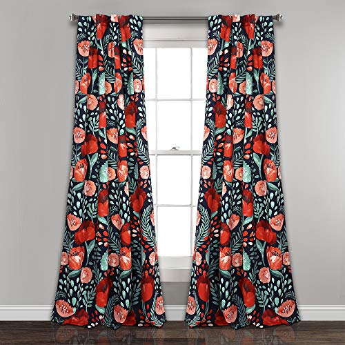Lush Decor Poppy Garden Curtains Room Darkening Window Panel Set for Living