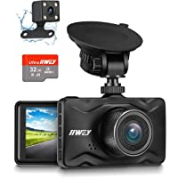 Dash Cam Front and Rear, 32GB TF Card Included IIWEY 1080P Dash Camera for Car Aluminum Alloy Body 3 Inch LCD Screen 170…