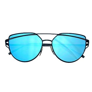 Emblem Eyewear Lentilles Plates De Miroir D'oeil De Chat Aviator Lunettes De Soleil En Métal De Cadre De Lunettes (Bleu) JU1rBS8FCe