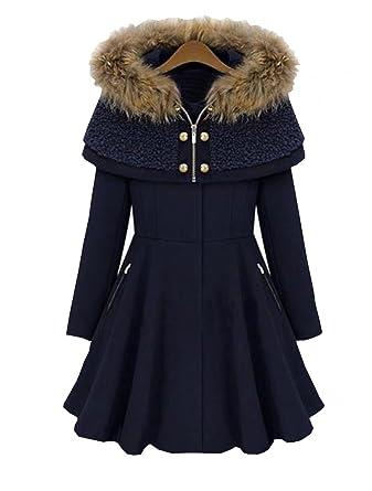 wholesale dealer bc065 e62a0 Damen Wintermantel Woll Cape Coat Elegant Herbst Zweireiher ...