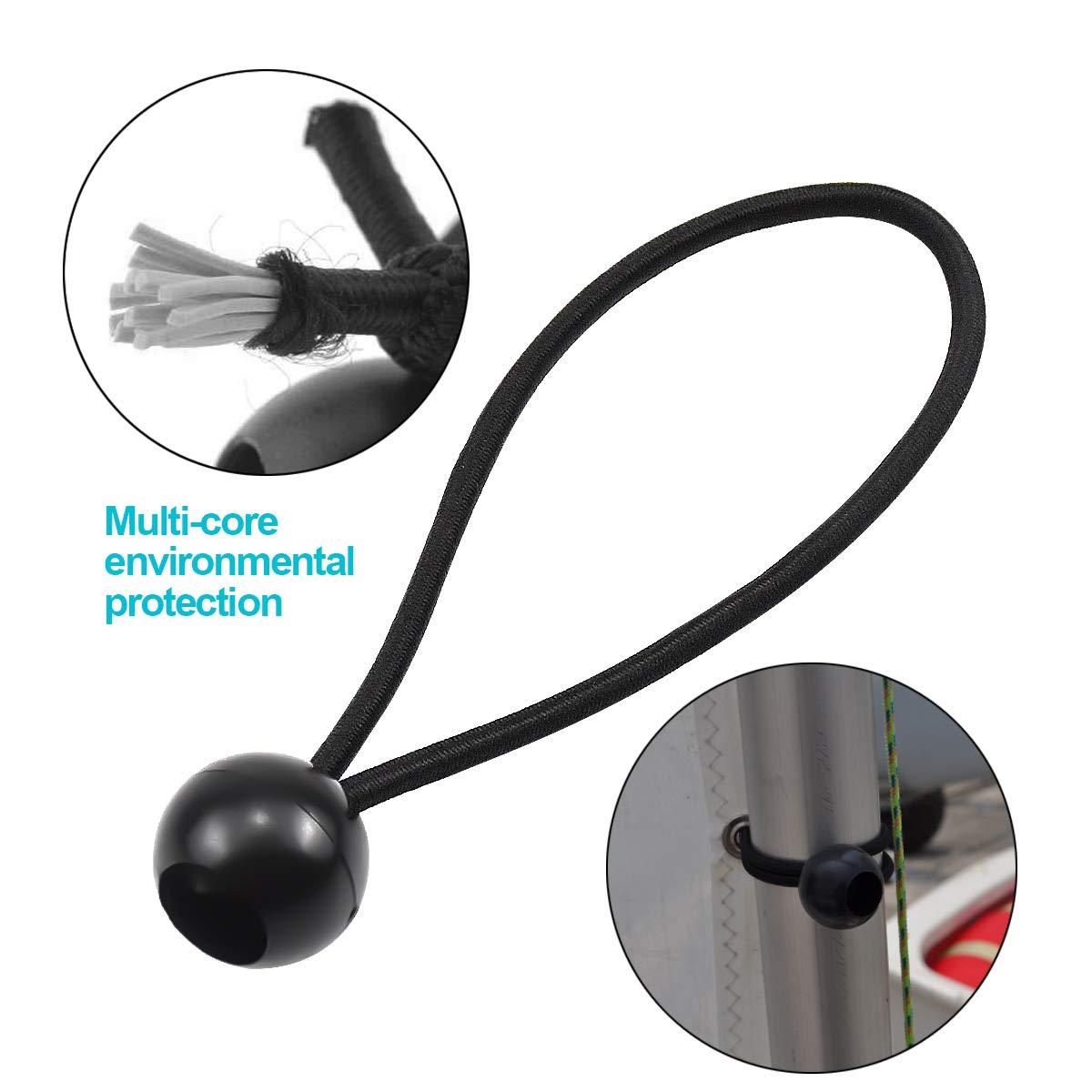 color negro 20 gomas el/ásticas con bola vallas etc. postes tensores para lonas 15 cm carteles