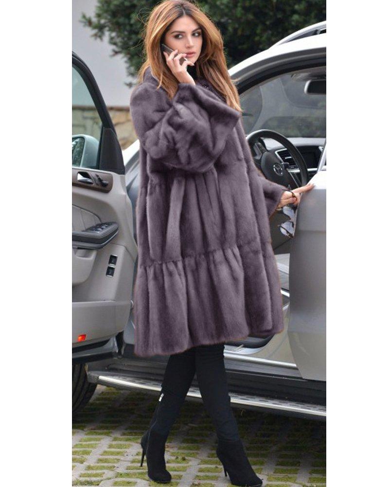 Aofur Luxury Faux Fur Parka Coat Long Lapel Trech Jacket Winter Outerwear Warm Overcoat Women Size S-XXXL (Medium, Grey) by Aofur (Image #4)